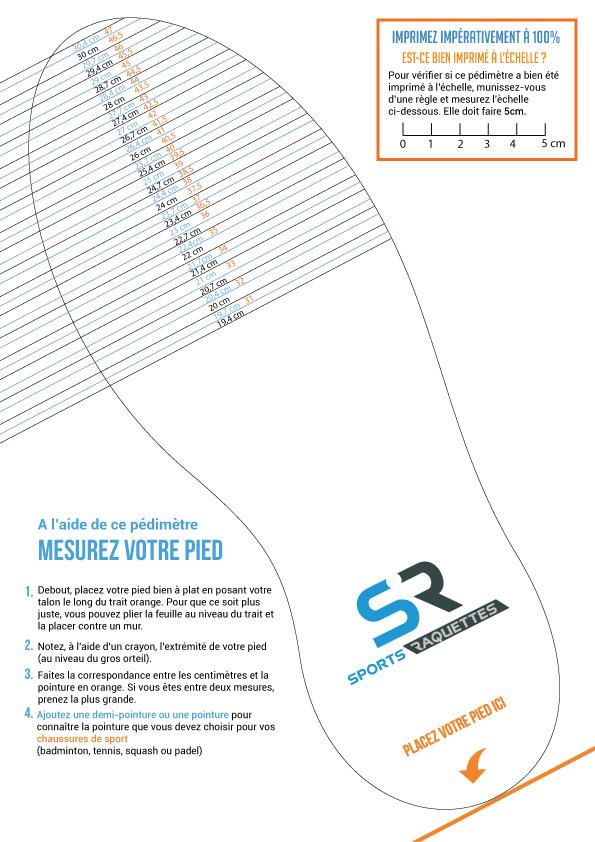 Pedimetre mesurer pied pointure chaussures sport Sports Raquettes