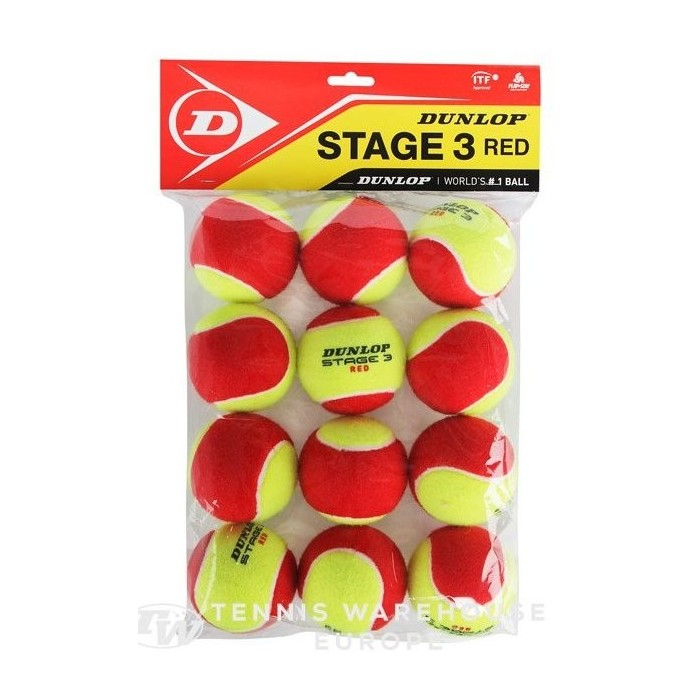 Mini Tennis - Stage 3 - Dunlop - x 12 - Balles de tennis - Débutants